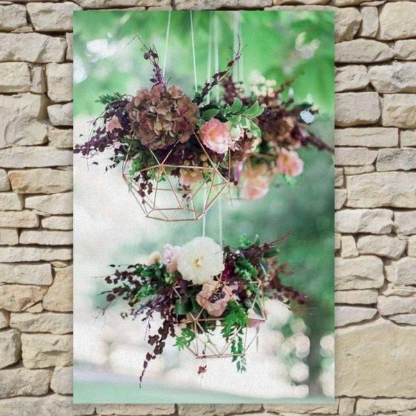 Location déco Mariage - Tableau Bouquets suspendus