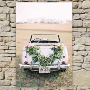 Location déco Mariage - Tableau cabriolet prairie